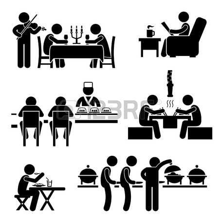 pictogram man: Restaurant Cafe Food Drink Candlelight Dinner Coffee Shop Japanese Sushi Korean BBQ Buffet Stick Figure Pictogram Icon