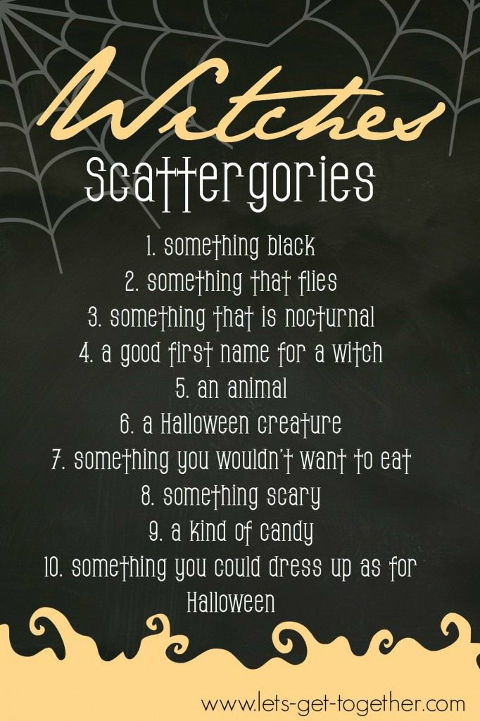 Witches Scattergories from Let's Get Together - #freeprintable #halloween #game