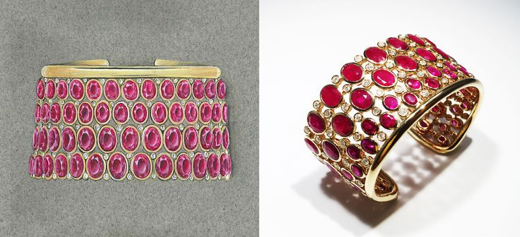 From design to reality. Ruby and diamond cuff.