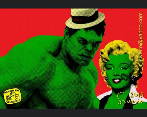 the hulk and marilyn pop art