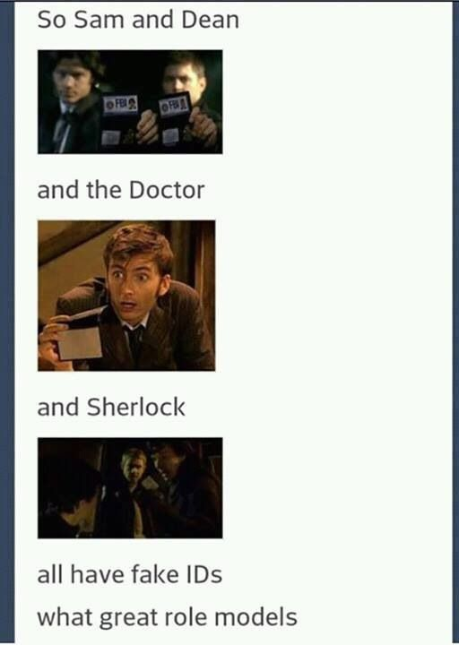 What great role models lol. I haven't seen sherlock or doctor who but want to watch it
