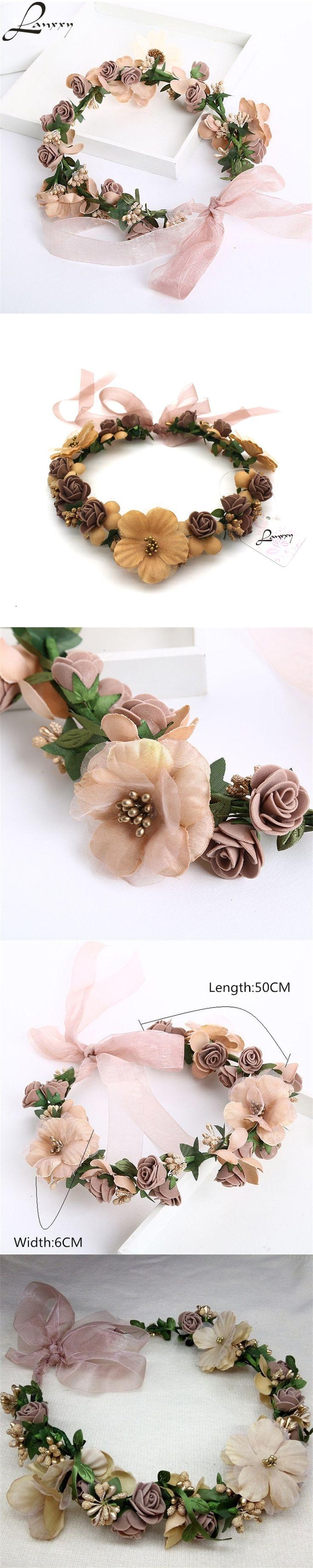 Lanxxy Hot Sale New 2016 Fashion Wedding Hair Accessories Wreath Tiaras Flower Headband Women Crown Bridal Hairbands