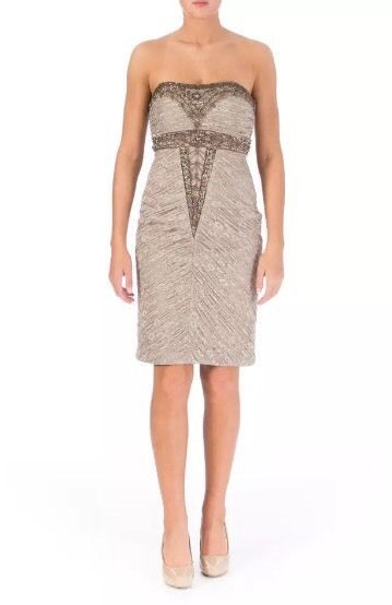 SUE WONG Taupe and Lace Embellished Cocktail Dress Size 4  $448.00 NWT #SueWong #Sheath #Cocktail