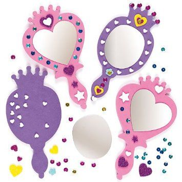 Foam Mirror Kits - Self Adhesive Mirror & Foam Decorations, Children's Craft Activity (Pack of 4)