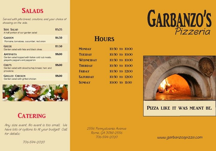 Outside of a tri-fold menu created for a fictional pizza parlor.