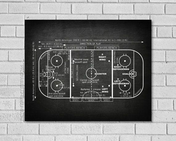 Hockey Gift  Ice Hockey Rink Patent Print  Hockey by PatentPrint