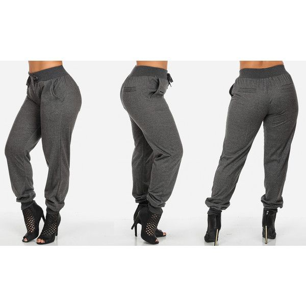 ModaXpress Women's Plus Size Stretch Joggers: Dark Grey/1XL ($18) ❤ liked on Polyvore featuring activewear, activewear pants, pink, plus size, jogger sweat pants, pink sweat pants, jogger sweatpants, cuffed sweatpants and plus size sportswear