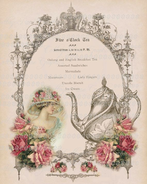 Victorian Five o'clock TEA English Large by CottageRoseGraphics