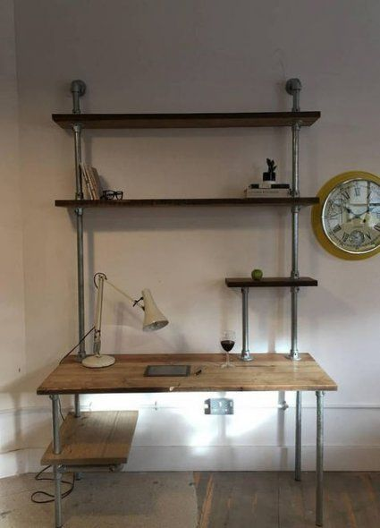Diy desk industrial pipe shelving units 23 Ideen – #desk #DIY #ideas #industrial #Pipe #she …