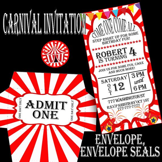 Carnival Party Carnival Invitation, circus party, circus invitation. Make your party a great event with these amazing invitations. Includes invitation, envelope, envelope seals. Personalized just for you only $5.00