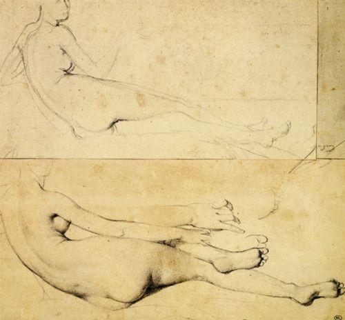 drawingdetail:    Jean-Auguste-Dominique Ingres, Two Studies of a Nude Woman Reclining, Facing Right, ca. 1813. Graphite, 25.4 x 26.7 cm. Musée du Louvre, Paris.