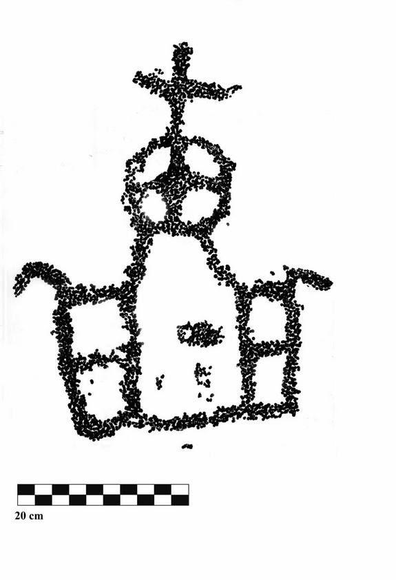 Rotstekening in Wadi Abu Dom in Sudan dat het klooster Al-Ghazali voorstelt.
