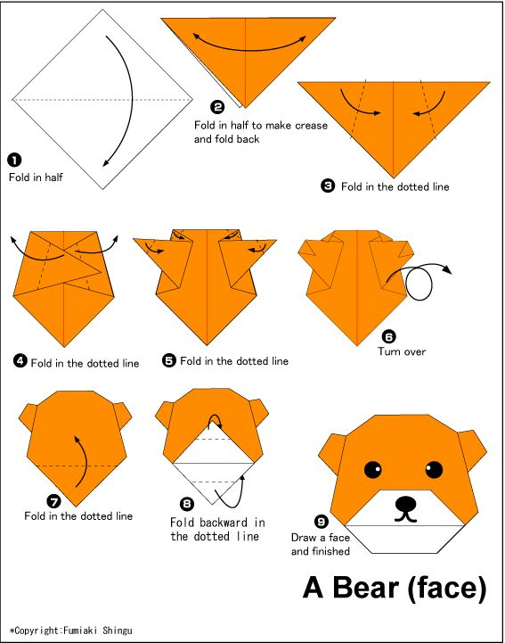 10 best origami images on pinterest origami paper easy origami bearface easy origami instructions for kids mightylinksfo
