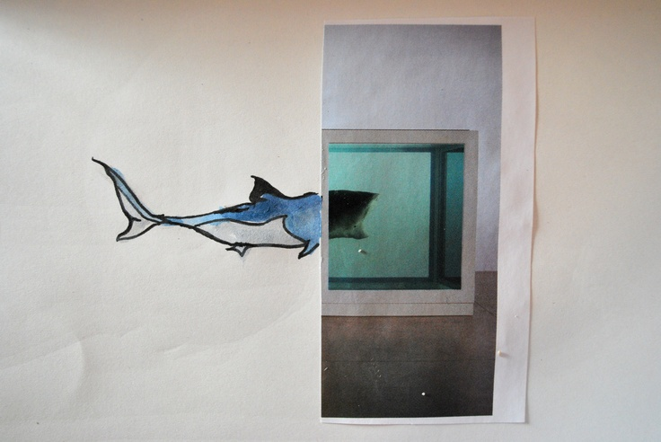 Collage of Damien Hirst's taxidermy shark
