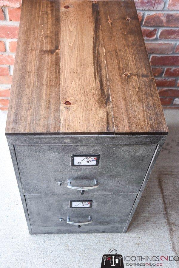 Faux Zinc Filing Cabinet Cabinet Makeover Diy Metal Filing