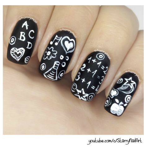 Chalkboard Nails [Freehand Nail Art]