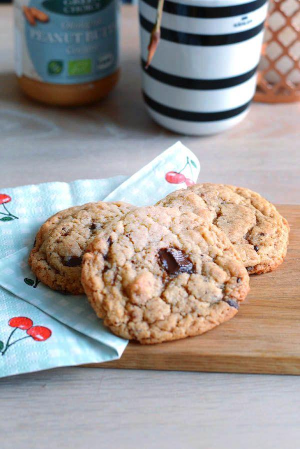 Peanut butter cookies med mørk chokolade