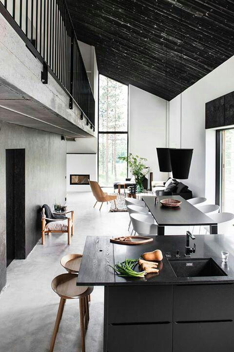 Modern/rustic open concept room.