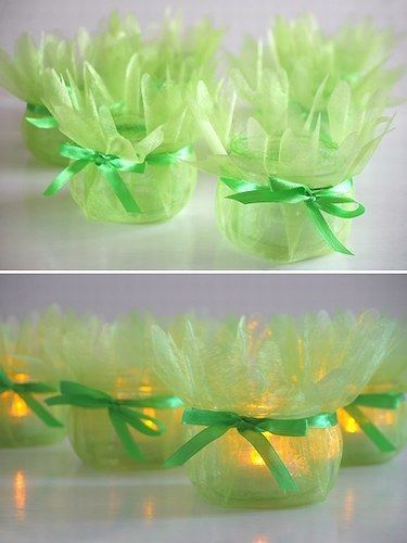 tulle-wrapped votive candles (or baby food jars) (battery-powered flicker candles) as decor - (maybe with fairy silhouettes inside)