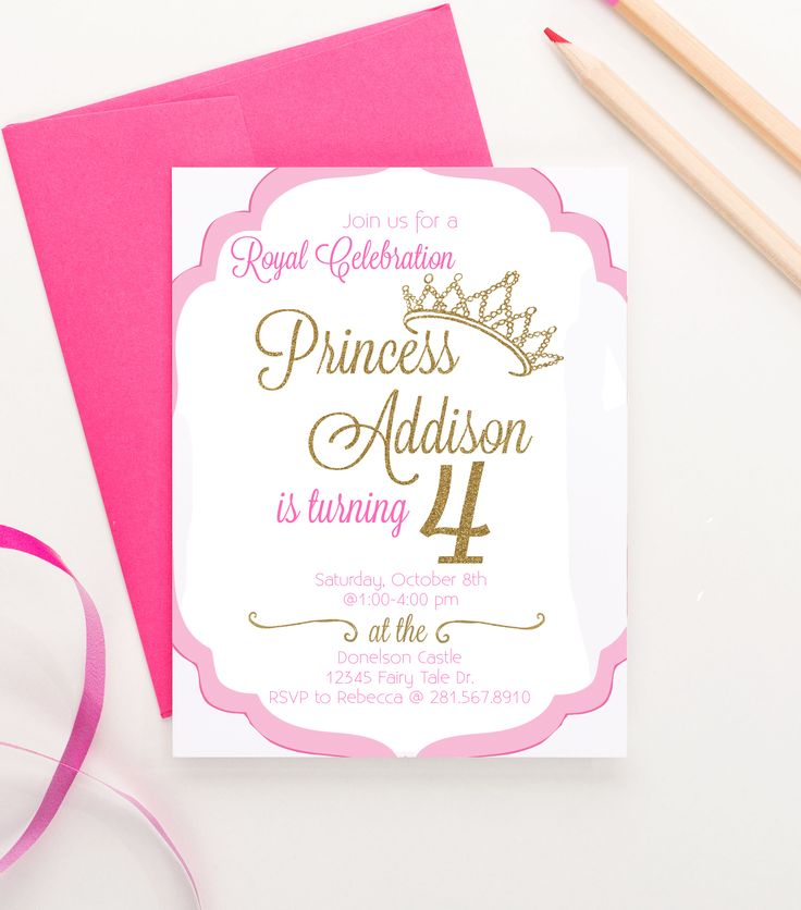 Princess birthday Party Invitation, Princess invitation, Princess birthday Invitations girl