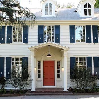 Coral Front Door, Traditional, home exterior, Benjamin Moore Golden Gate, Kishani Perera