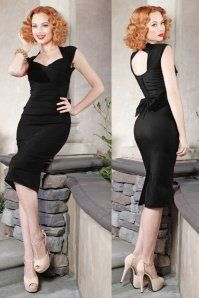 WStop Staring Black Pencil Love Bow Dress 100 10 16346 6