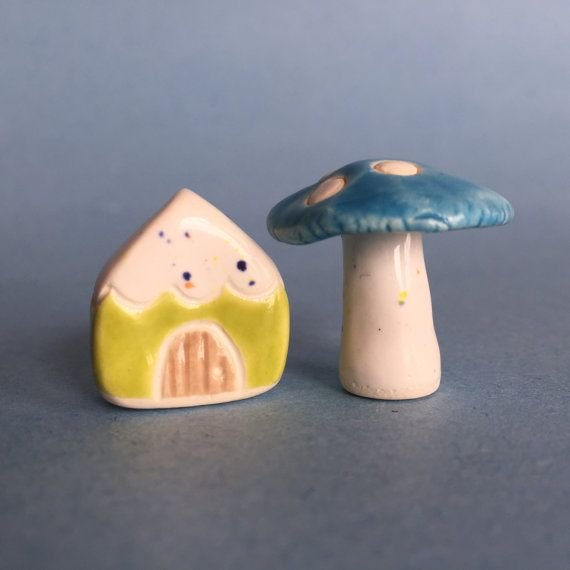 mushroom Gnome Home set Collectible Ceramic miniatures by thelittlereddoor.etsy.com
