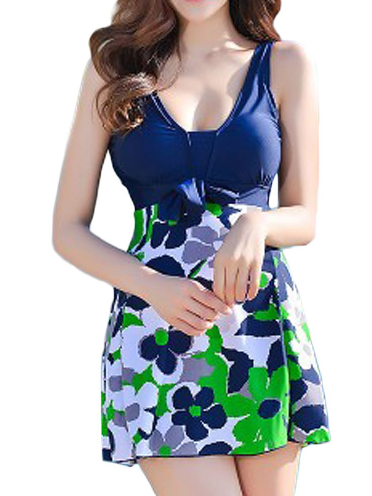 Plus Size 5XL Women Floral Printing Swimming Dress With Shorts Swimsuits Beachwear