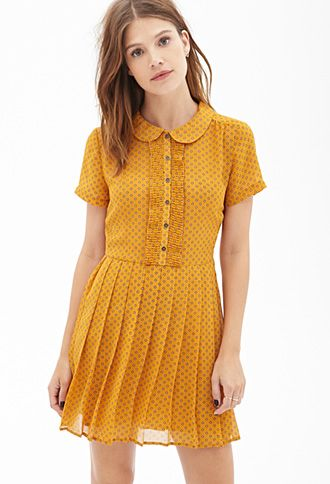 Polka Dot Chiffon Dress | FOREVER21 - Mustard or royal blue? They're both so cute! $28