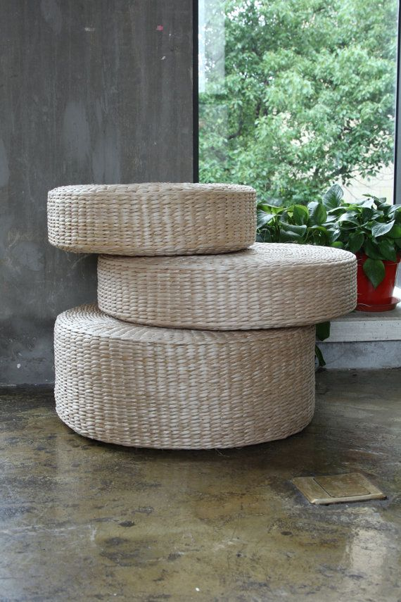 Round Straw Floor Pillows : Rustic floor cushions/straw floor pouf/gift for moms/Pouf ottoman/Kids gift/Yoga/meditation ...
