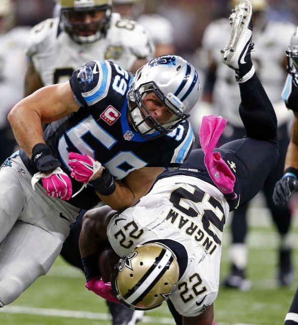 Panthers vs. Saints:      October 16, 2016  -  41-38, Saints  -     New Orleans Saints running back Mark Ingram (22) is hit by Carolina Panthers middle linebacker Luke Kuechly (59) as he is upended in the first half of an NFL football game in New Orleans, Sunday, Oct. 16, 2016.