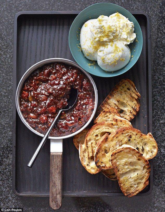Burrata with quick balsamic fig jam and crostini
