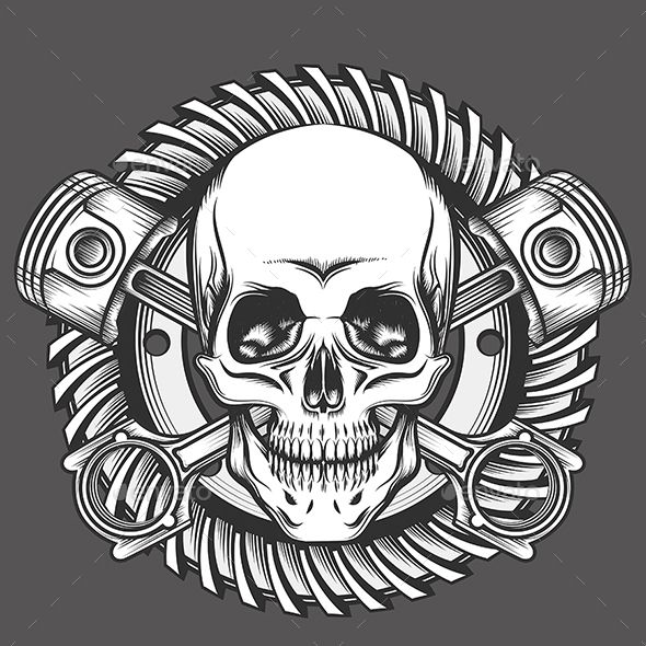 Skull with Pistons Against Motorcycle Gear Emblem - Tattoos Vectors