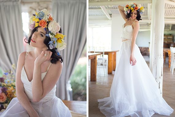 Spring Bride: vibrant floral themed styled shoot in Pretoria, Gauteng. Wedding dress: Dimity Bridal Studio www.dimity.co.za; Photographer: www.dochter.co.za; MUA: Make Up by Candice Storm; Jewellery: www.etsy.com/thecoraltree; Florist: www.theloveknot.co.za; Stationery: www.pistachiodesigns.co.za; Model: Marli Venter; Venue: www.bellamour.co.za; With thanks to www.weddingfriends.co.za #Dimity #EcoBride #DimityBridalStudio #wedding dress #bride #weddingfriends #styledshoot #springbride