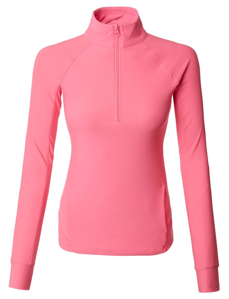 LE3NO Womens Quarter Zip Long Sleeve Active Sports Running Top with Thumb Holes