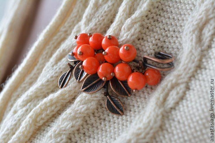 Купить РЯБИНА брошь булавка - рыжий, оранжевый цвет, коралл натуральный, брошь из коралла