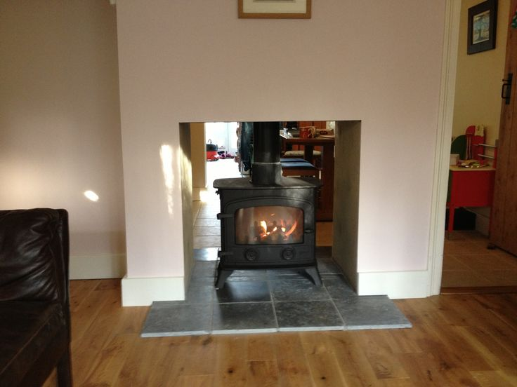 Yeoman double sided stove installed - I really don't like how much you can see in the other room... :/