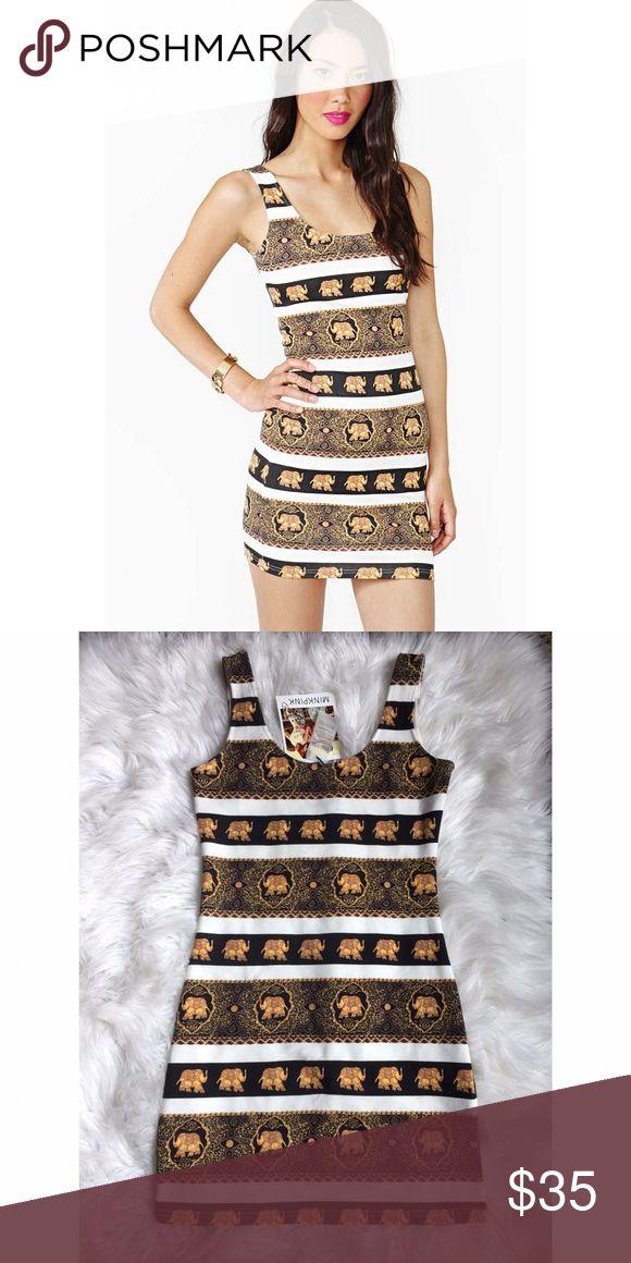 MINKPINK elephant bodycon dress, medium, NWT This black/gold elephant patterned bodycon dress from MINKPINK is a size medium and brand new with tags!! MINKPINK Dresses Mini
