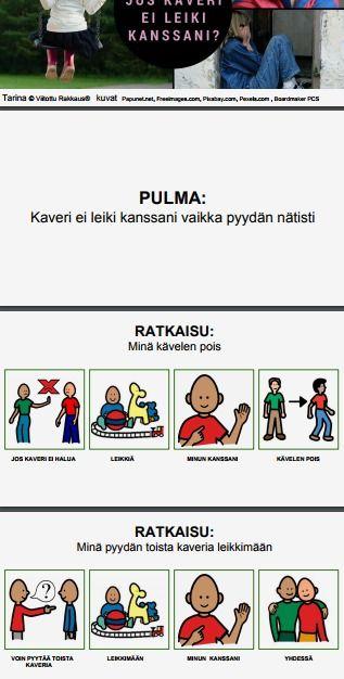 Sadunomainen oppimistarina, jonka avulla lapsen kanssa voidaan pohtia tilanteita, joissa ei pääse mukaan toisten leikkiin. Tarinaa voidaan käyttää tulostettuna PDF-versiona tai Powerpoint-esityksenä videotykin kautta.