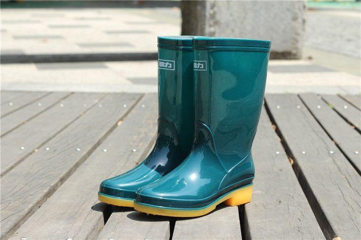 Hurry Up! Women's Rain Boots Mid Calf Rubber Waterproof Rain & Snow Boots