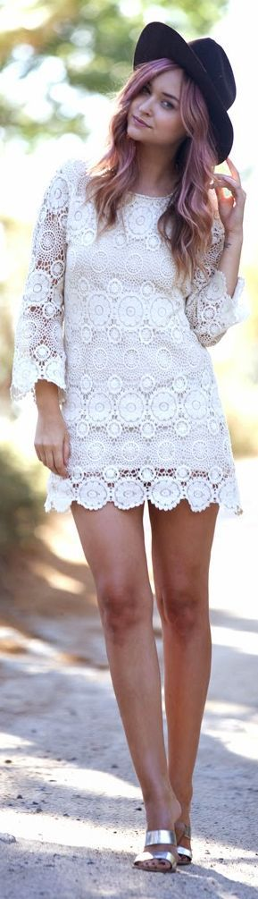 Zara White 3/4 Sleeve Lace Lined Mini Dress by Late Afternoon
