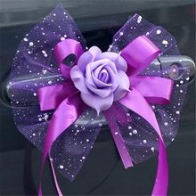 New 6 pcs fleur de mariage bouquet décoration de voiture fleur auto miroir et poignée fournitures de décoration de mariage de fleurs(China (Mainland))