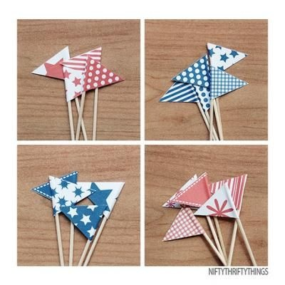 Red, White, & Blue Bunting & Mini Flags Free Printables.....Used these on a Pink Lemonade Cake for Memorial Day. I used colored toothpicks; blue stems for blue flags, and red stems for red flags...so cute!