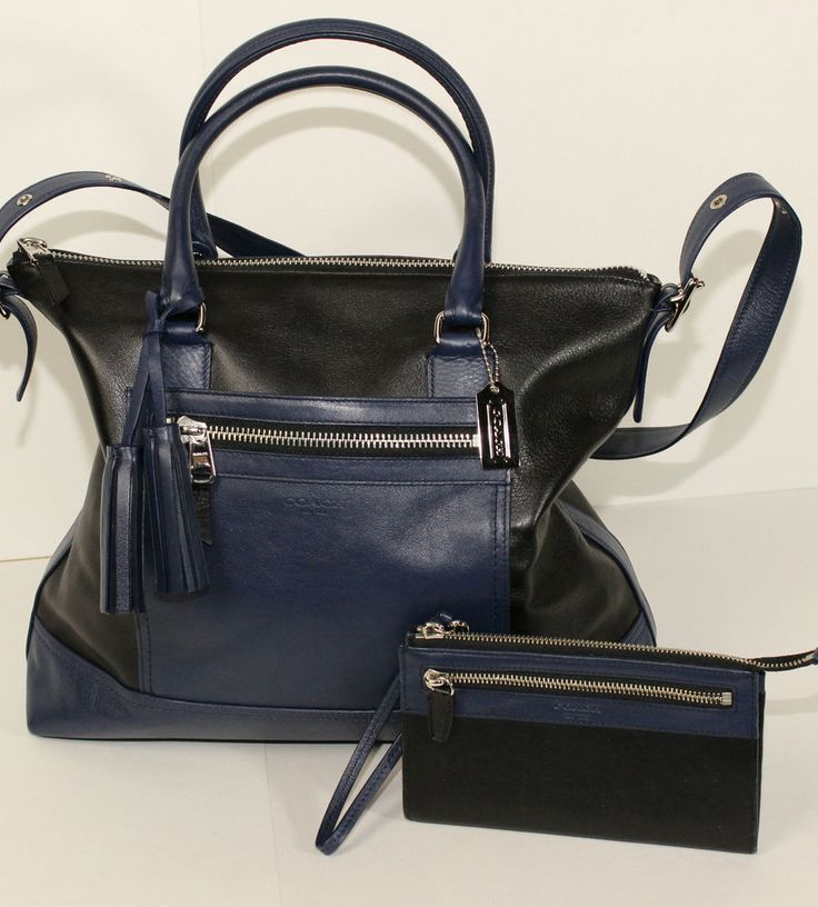 EUC COACH LEGACY COLORBLOCK LEATHER RORY SATCHEL BAG NAVY AND BLACK 19902 #Coach #SatchelShoulderBag