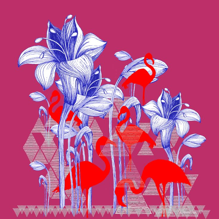 Red Flamingo Print Line drawing work combined to vector images