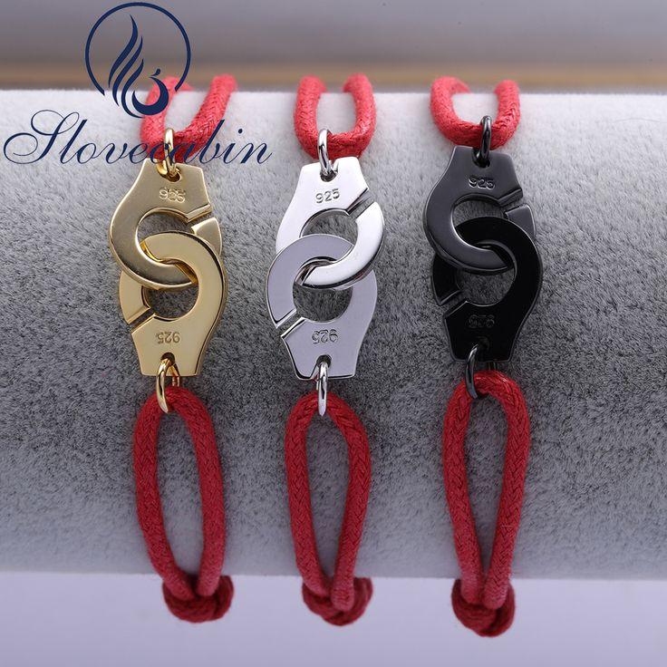 Slovecabin Adjustable Real 100% 925 Silver Handcuff Bracelet For Women Sterling-Sterling-Jewelry Vintage Red Rope Bracelet