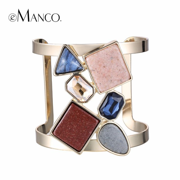 eManco Hot Now Colorful Geometric Hollow Statement Cuff Bangle Open Bracelets for Women Crystal Stone Copper Gold Plated Jewelry