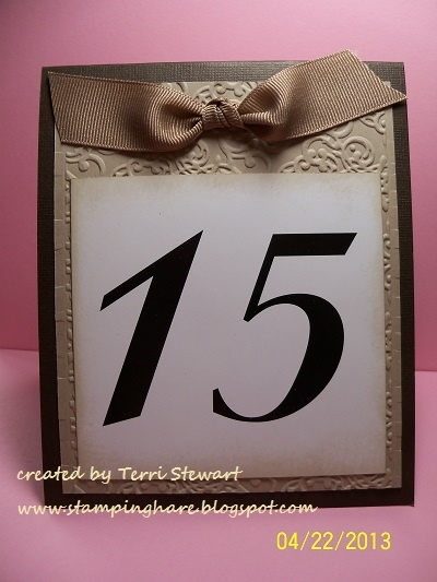 Stamping Hare -- store bought table number set trimmed and mounted on Stampin' Up! cardstock #wedding #diy #stampinup