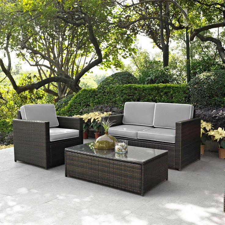 Crosley Furniture Palm Harbor All Weather Wicker 3 Piece