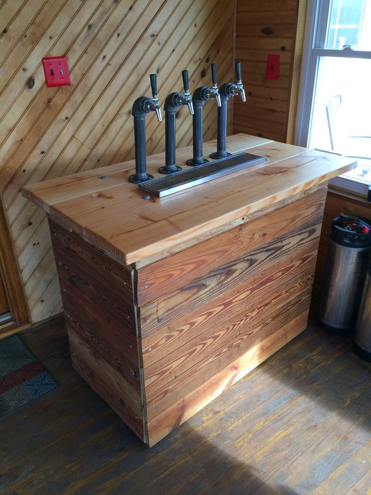 New Kegerator Design!!! Reclaimed Wood and Pipe